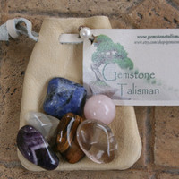 Weight Loss Talisman- Polished Gemstones in Leather Pouch