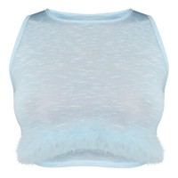 Blue Feather Trim Knitted Crop Top