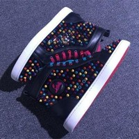 DCCK Cl Christian Louboutin Louis Spikes Style #1878 Sneakers Fashion Shoes