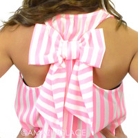 Charmed Neon Pink Striped Bow Back Racer Tank