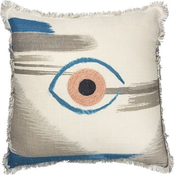 Single Eye Embroidered Throw Pillow in Pink and Blue