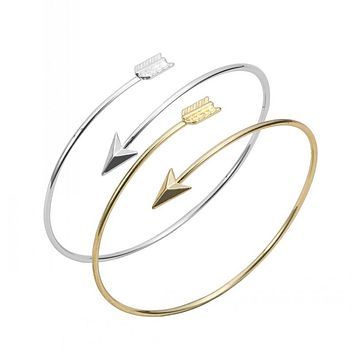 Classic  Adjustable Arrow Bracelets & Bangles for Women Gold Wrapped Arrow Wire Cuff Bangles