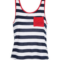 Stripe Contrast Pocket Tank