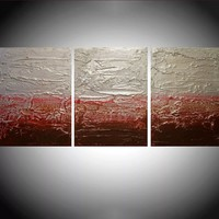 "ARTFINDER: triptych 3 panel wall decor sculpture art "" Strawberry Silver "" acrylic three part impasto effect 3 panel metallic silver on canvas wall abstract 54 x 24"" by Stuart Wright - "" Strawberry Silver "" extra large triptych 3 pi..."