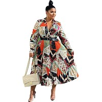 African Lady Plus Size Midi Dress Full Sleeve