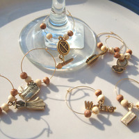 Handmade Gold Beaded Wine Charms Girls Night Out