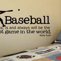 """LARGE 20"""" X 42"""" Baseball Babe Ruth quote for little boys' rooms Vinyl Wall Art Decal"""