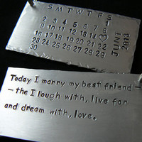 Set of 2 Personalized Wedding Date Key Chains, his and her wedding calendar stamped key chain with heart and text