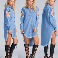 Sexy Womens Long Sleeve Denim jeans Shirt Dress Party Club Mini Dress M-XXL = 5737801473