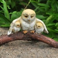 Owl Mom With Her Baby Owls - My Fairy Gardens