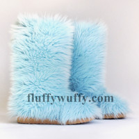 Classic Tall Fluffy Wuffy boots – Baby Blue