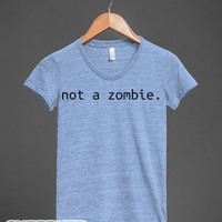 Not a Zombie-Female Athletic Blue T-Shirt