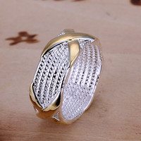 Sterling Silver Gold Separation X Jewelry Ring Fashion