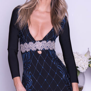 BINDY PAINTED BANDAGE DRESS IN BLACK WITH NAVY