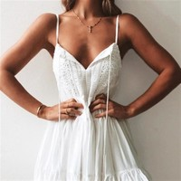 Summer Fashionable Women Sexy Pure White V Collar Sleeveless  Dress