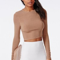Missguided - Ribbed Long Sleeve Crop Top Camel