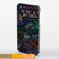 Rainbow The Fault In Our Stars Quote iPhone 4/4S, 5/5S, 5C Series Full Wrap Case