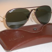 Cheap 1980s 58-14mm VINTAGE B&L RAY BAN BROWN LEATHERS G15 UV GLASS AVIATOR SUNGLASSES outlet
