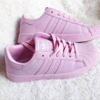 DCCKIJG Adidas' Fashion Shell-toe Flats Sneakers Sport Shoes Pure color Pink