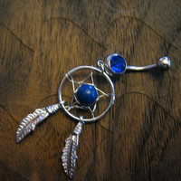 Belly Button Ring -- Sapphire Dream Catcher