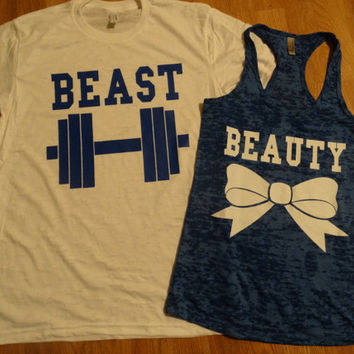 Free/Fast Shipping for US Beauty And The Beast Burn Out Tee and Tank.White and Royal Blue(Blue and White  Decal)