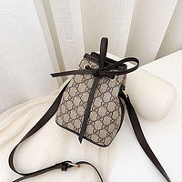 Lv Hot Lady Casual Full Printed Bow Pull Rope Across The Bucket Bag
