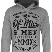 Of Mice & Men Text Men's Heather Grey Pullover Hoodie - Buy Online at Grindstore.com
