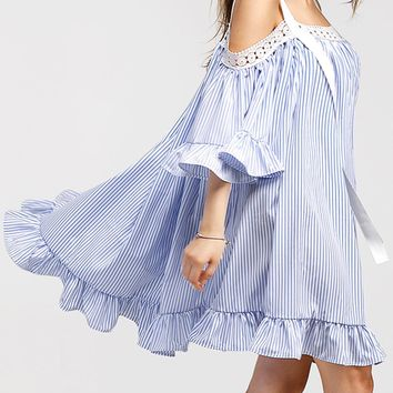Open Shoulder Mini Vertical Striped Dress