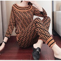 Fendi Autumn And Winter New Fashion More Letter Print Leisure Sports Long Sleeve Top And Pants Two Piece Suit Brown
