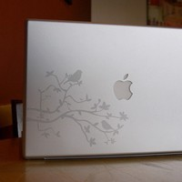 Silver Etched Glass Birds and Branches Laptop / Notebook Computer Decal