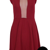 Idarah Studded Mesh Skater Dress In Burgundy