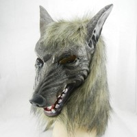 New Wolf Mask Creepy Halloween Costume Fur Mane Latex Realistic Horror Devil Masks Masquerade Props Cosplay