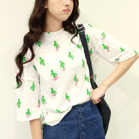 White Cactus Print Short Sleeve Lace Dress