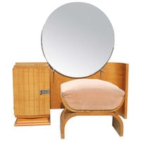 Glamorous French Art Deco Sycamore Ladies Vanity and Stool