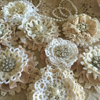 5 shabby chic vintage lace handmade flowers