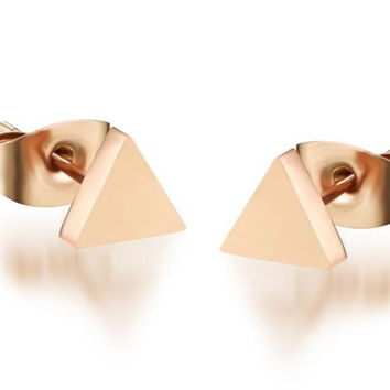 Birthday Gifts Ladies Rose Gold Cubic Triangle Stud Titanium Earrings for Fall Winter [9047552839]