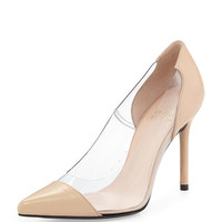 Stuart Weitzman Onview PVC/Patent Pointed-Toe Pump, Adobe
