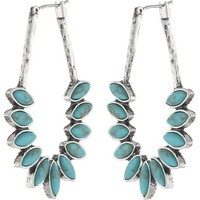 Lucky Brand Turquoise Oblong Set Stone Hoop Earrings
