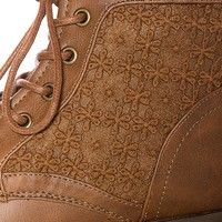 Granny Grunge Lace Up Crochet Combat Boots - Tan