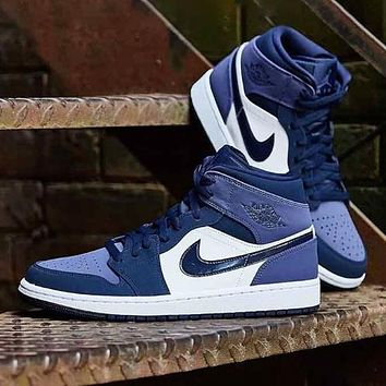 Nike Air Jordan 1 Mid New fashion hook couple hit color shoes Blue