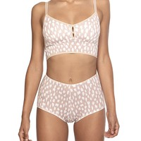 Bralette Set in Pink Paint Dots