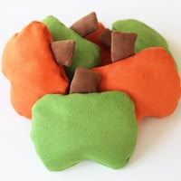 Orange Green Pumpkin Shaped Bean Bags with Brown Corduroy Stems (Set of 6) 3.5 inch Pumpkin Kids Toss Toy - US Shipping Included