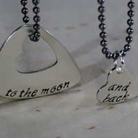 guitar pick sterling silver necklace for couples