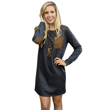 Autumn patchwork long sleeve dress