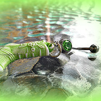 Green Cowboy Boot Belly Ring, Country Western Belly Ring, Cowgirl,