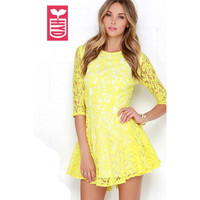 HYD High Quality Lace 2016 Ladys Yellow OL Tunic Formal Dresses Womens Zipper Half Sleeve Party Girls A-line Dress