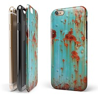 Teal Painted Rustic Metal iPhone 6/6s or 6/6s Plus 2-Piece Hybrid INK-Fuzed Case