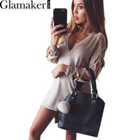 Glamaker Sexy criss cross sleeve v neck knitted top pullover Casual split sweater women Autumn winter jumper slim party knitwear