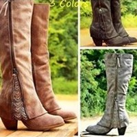 On Sale Hot Deal Stylish Knee-length Tassels Shoes High Heel Boots [120848285721]