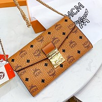 MCM Women Shopping Bag Leather Metal Chain Crossbody Satchel Shoulder Bag
